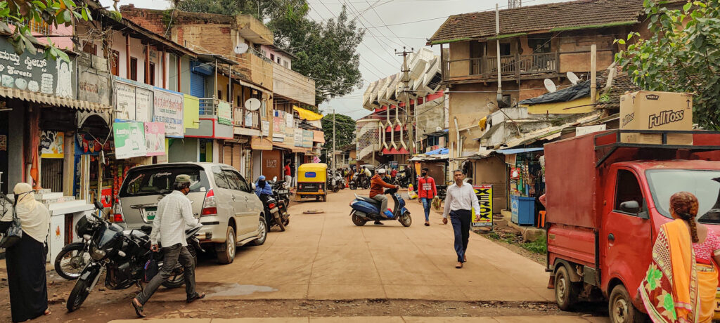 city centre photo with commercial shops on the streets in dharwad karnataka